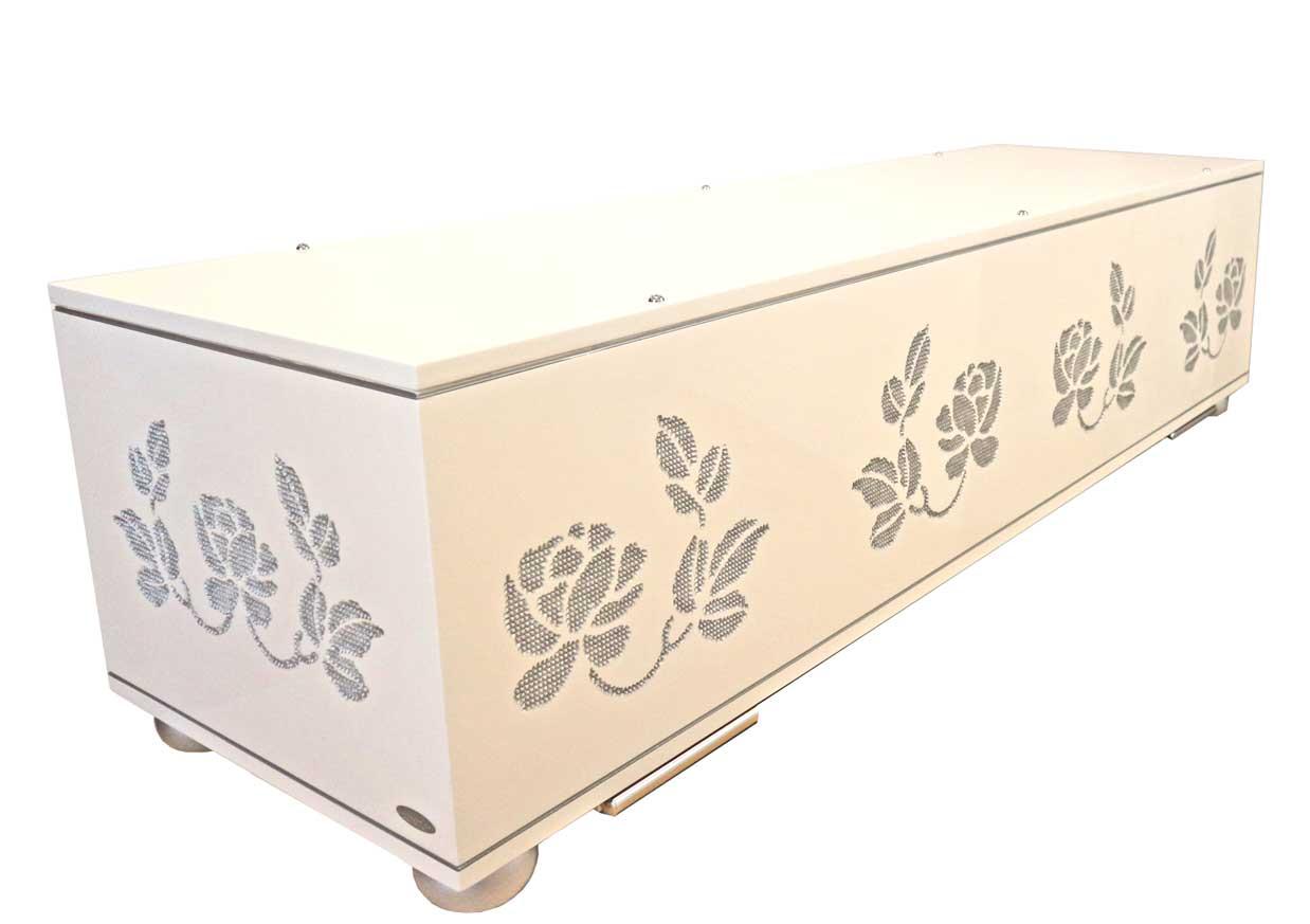 Silver-Rose-Designtruhe-weiß Bestattungshaus Kraft