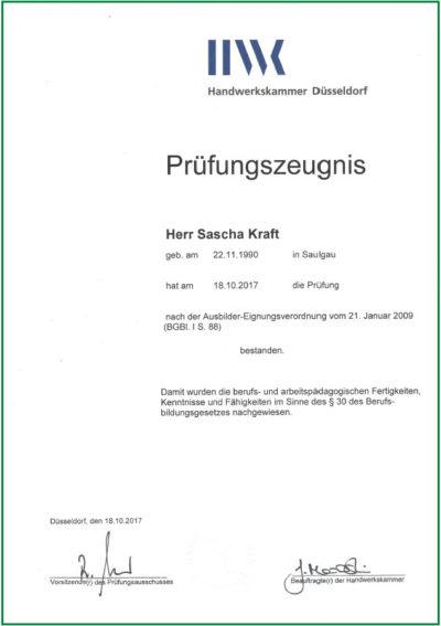 ADA-Zeugnis Sascha Kraft