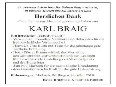 Danksagung Herr Braig