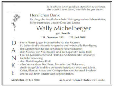 Danksagung Michelberger