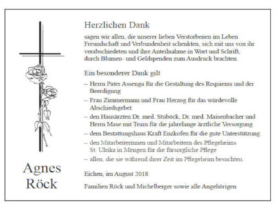 Danksagung Röck