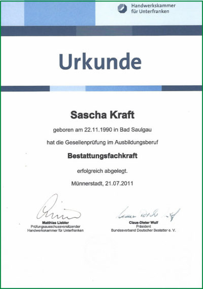Gesellenbrief Sascha Kraft