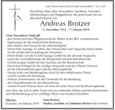 Danksagung Andreas Brotzer