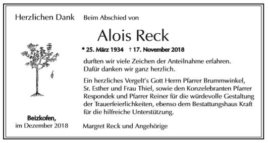 Danksagung Reck Alois