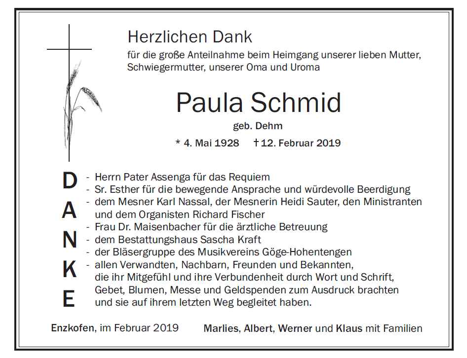 Danksagung Paula Schmid