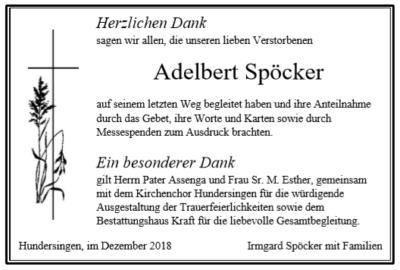 Danksagung Adalbert Spöcker