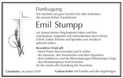 Danksagung Stumpp Emil