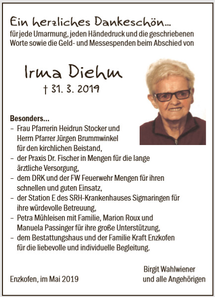 Irma Diehm Bestattungshaus Kraft