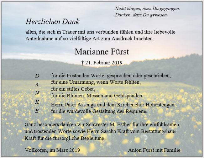 Danksagung Fürst Bestattungshaus Kraft