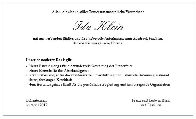 Danksagung Klein Bestattungshaus Kraft