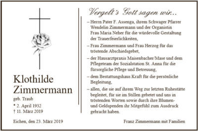 Danksagung Zimmermann Bestattungshaus Kraft