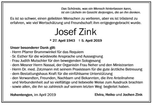 Danksagung Zink Bestattungshaus Kraft